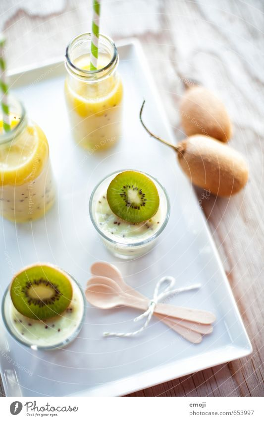 spring Fruit Dessert Ice cream Candy Nutrition Beverage Cold drink Juice Fresh Healthy Delicious Sweet Green Kiwifruit Colour photo Interior shot Close-up