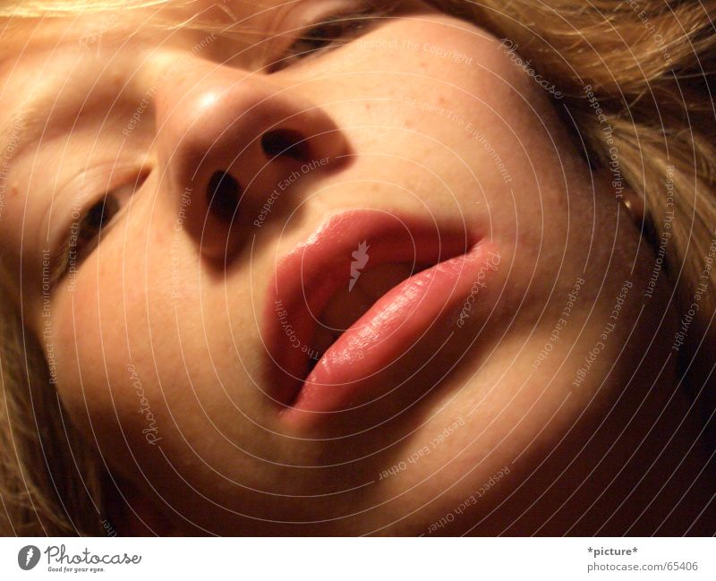 Labello mouth Feminine Lips Kissing Close-up Portrait photograph Face Mouth Nose Head Eyes Human being labello Alluring languish