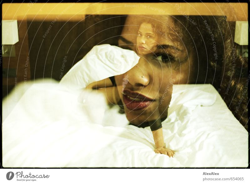 analog double exposure of young beautiful dark skinned woman on a hotel bed Bed Hotel room Young woman Youth (Young adults) Face 18 - 30 years Adults Dress