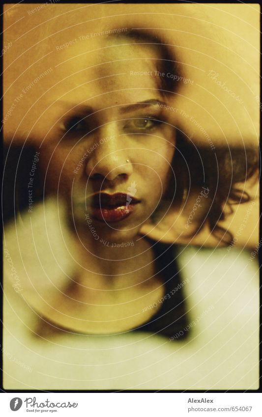 approximation Double exposure Analog 35mm Young woman Youth (Young adults) Face Eyes Lips 18 - 30 years Adults Dress Black-haired Long-haired Curl Observe Kneel