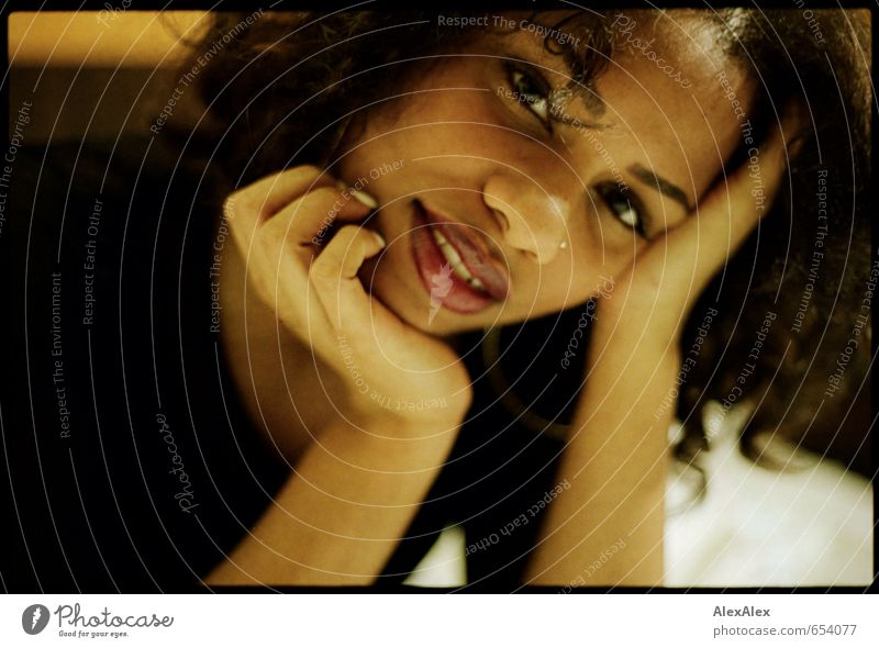 analogue portrait of a dark skinned beautiful woman Lipstick Young woman Youth (Young adults) Head Face Hand Black-haired Africans 18 - 30 years Adults