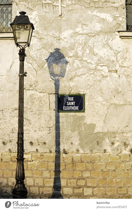 rue something Lantern Light Wall (building) Electric bulb Paris France Moon and Evening Street Lamp