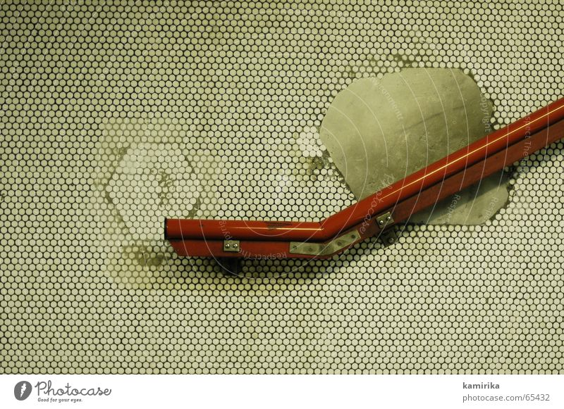 Put your hand on the handrail. Wall (building) Mosaic Circle Underground Paris Red Handrail Stairs bisazza Tile Line Illustration