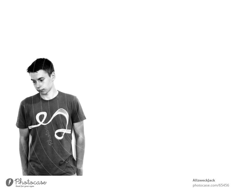 CK Something Pure Clean Modest Loneliness Timidity Sheepish Man Short-haired T-shirt Portrait photograph Embarrassing Wall (building) Interior shot