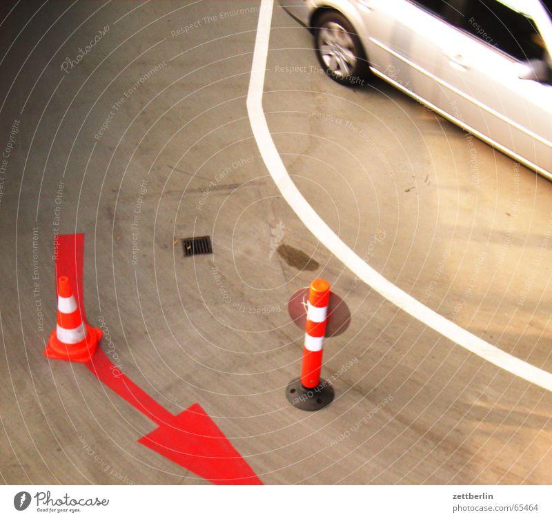 White Red Car Line Arrow Eisenach Garage Traffic cone Lane markings Underground garage Wartburg castle