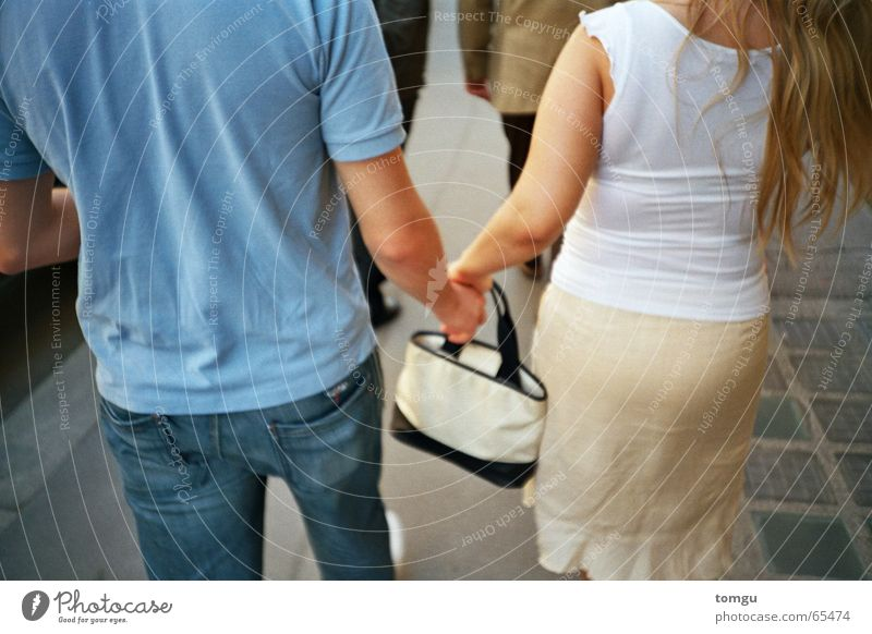 Human being Hand Street Together Going Back To go for a walk Bag