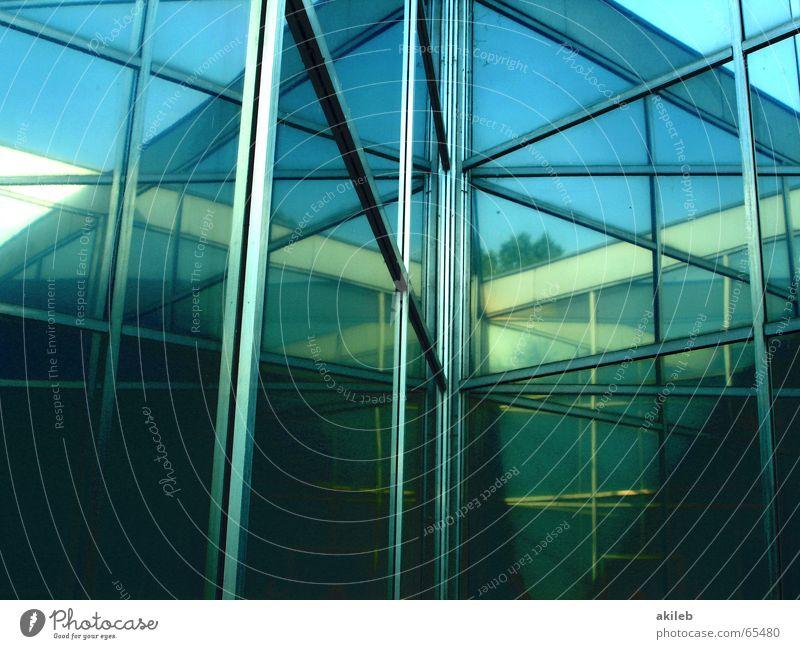 Blue Green House (Residential Structure) Art Door Mirror Self portrait