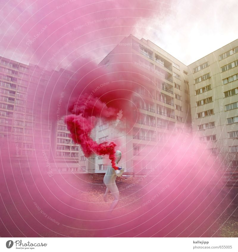 colour my life Human being Masculine Man Adults Body 1 Art Culture Town Throw Living or residing Concrete Gray Pink Revolution Dye Demonstration colors Hero