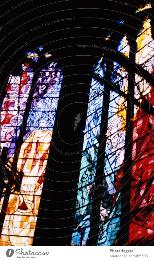 ...enlightening... Church window Red Yellow Green Window Cathedral lead glazing Blue metz chagall Multicoloured Colour