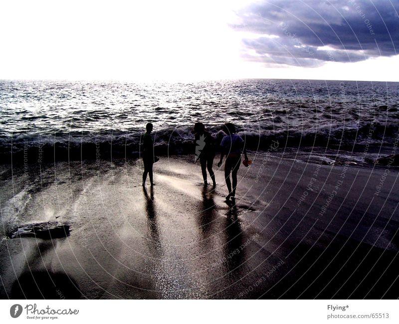 Human being Water Sky Ocean Joy Beach Vacation & Travel Clouds Dark Sand Waves Fear Wind Walking Wet 3