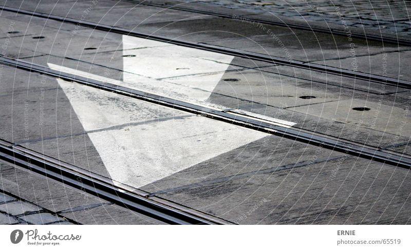 groundbreaking Prague White Railroad tracks Arrow Stone Paving stone