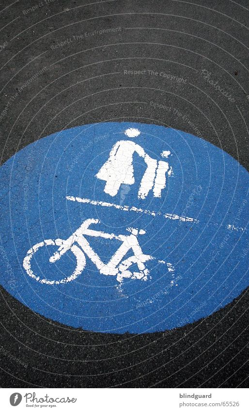 Follow allways the right way Sidewalk Bicycle Mother Child Transport Road traffic Cycle path Road safety Landmark Street painting Safety Correct Commute