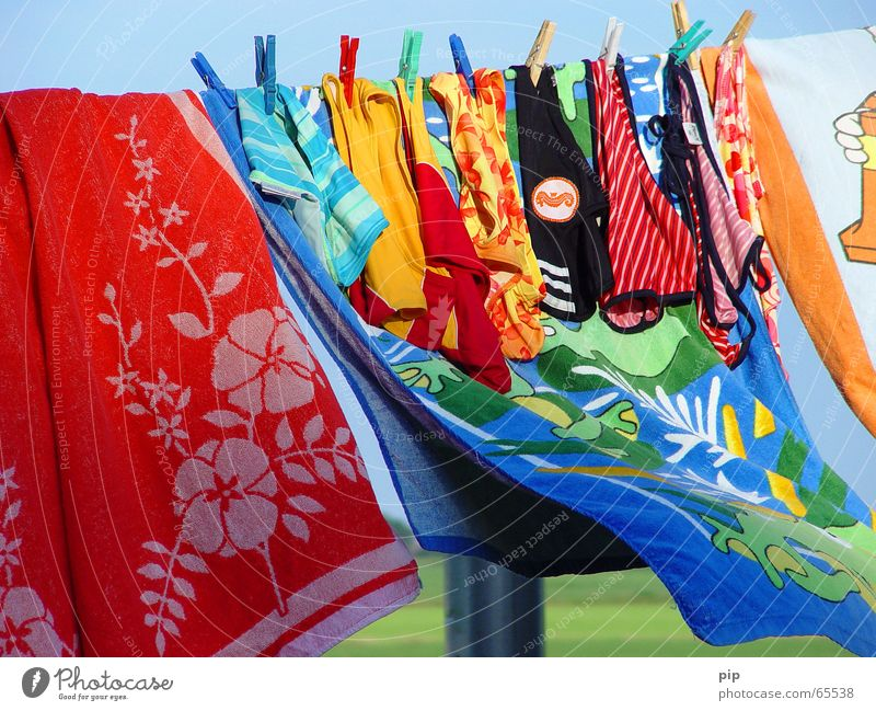 Water Fabric Summer Wind Towel Swimming trunks Swimsuit Wet Damp Dry Clothesline Clothes peg Multicoloured Joy beach towel