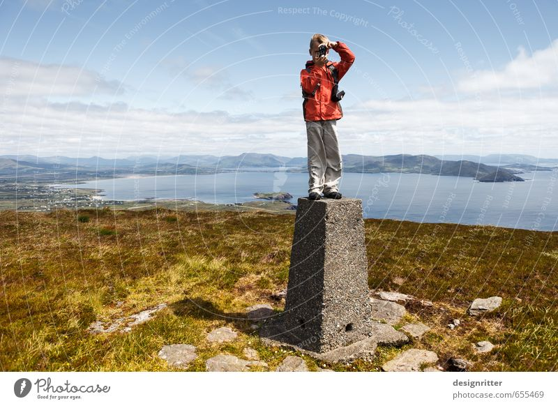 Boy on top of a mountain in Ireland Leisure and hobbies Vacation & Travel Far-off places Freedom Summer Summer vacation Ocean Mountain Hiking Human being