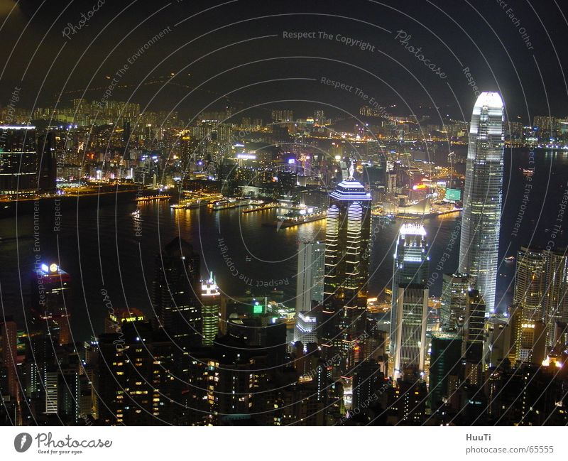Hong Kong Skyline Hongkong High-rise Evening China Asia Night peak Freedom Light Town