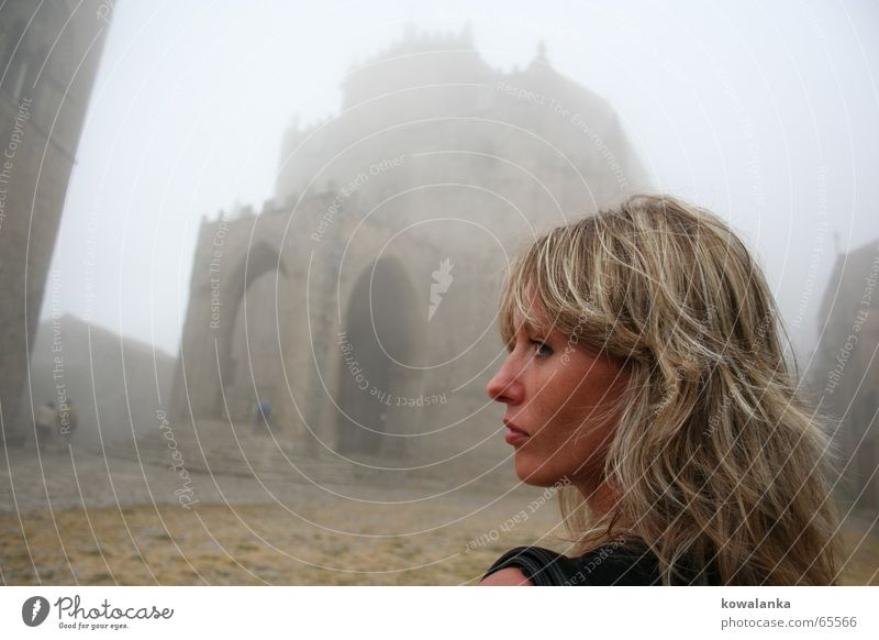 Woman Old Loneliness Feminine Religion and faith Fog Mysterious Castle Past Ghosts & Spectres  Arch