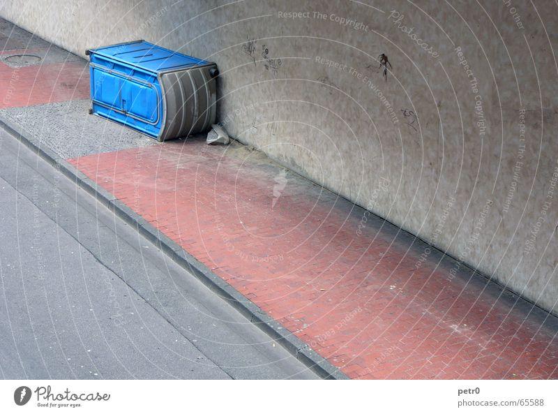 Blue Red Street Wall (building) Dirty Concrete Crazy Perspective Lie Asphalt Toilet Sidewalk Paving stone Striped Seam Across