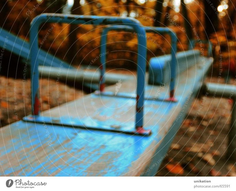 equilibrium Playing Kindergarten Infancy Autumn Weather Tree Garden Park Deserted Playground Old To swing Looking Sadness Growth Blue Loneliness Seesaw Orange