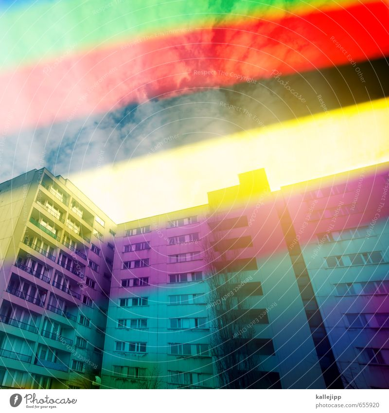 City Green Red House (Residential Structure) Black Yellow Architecture Building Facade Living or residing High-rise Stripe Manmade structures Balcony