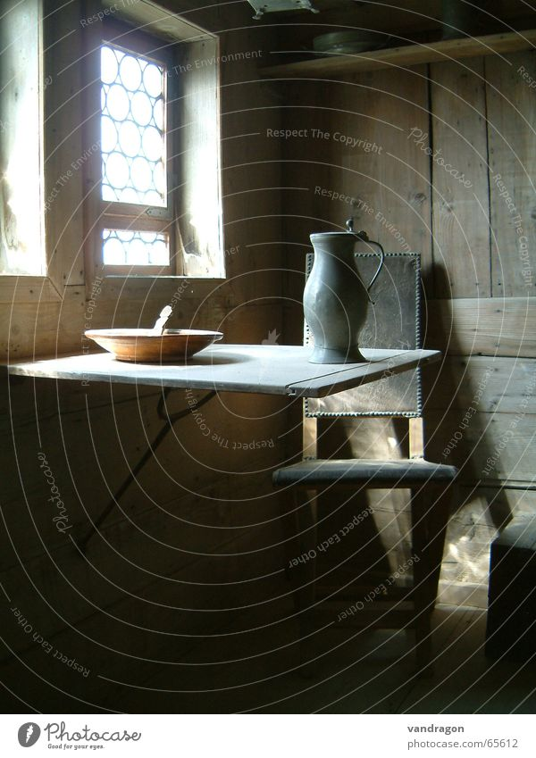 simple life Wartburg castle Eisenach Table Water jug Wooden bowl Wooden wall Window Room Martin Luther Folding table Loneliness Simple Still Life Living room