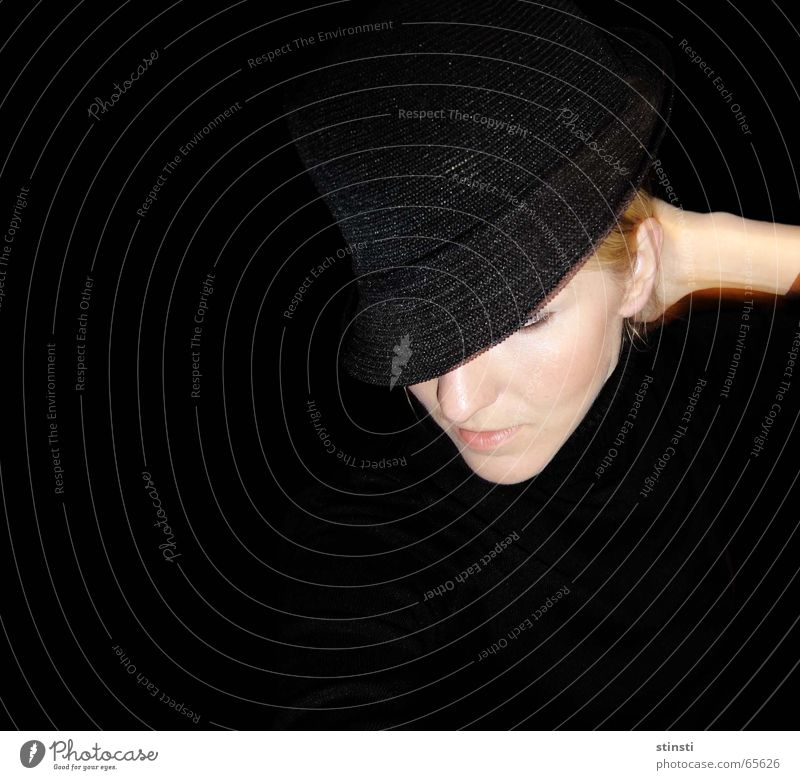 woman with hat Woman Black Blonde Hat Side Human being Downward Dark background
