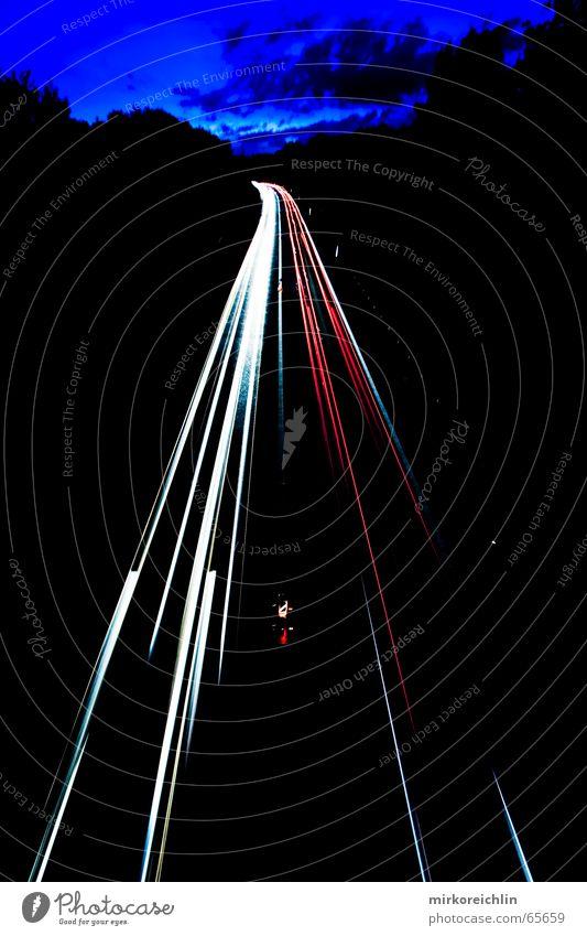 White Blue Red Street Car Line Lighting Speed Lightning Highway Exposure Clear
