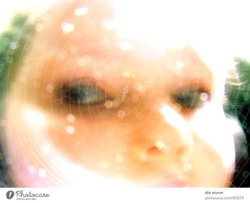 View to the side Child Girl Reflection Blur Green undertone Dark background Ghostly Hazy six years Eyes Bright Face view from the picture