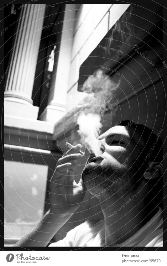 grayscale smoke Cigarette Smoking Delicious House (Residential Structure) Building Hand Human being Man Smoke Poison Death Search Face