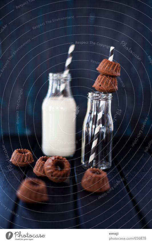 chocolate & milk Dairy Products Cake Dessert Candy Chocolate Nutrition Milk Bottle Straw Delicious Sweet Gugelhupf Baked goods Colour photo Interior shot