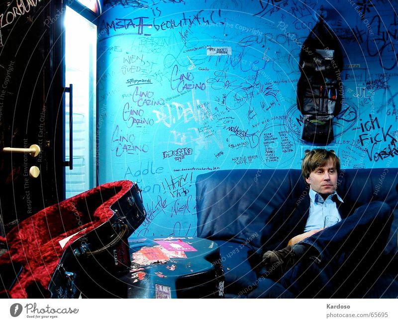 Man Blue Graffiti Wait Suitcase Sofa Neon light Vienna Artist Icebox Backstage Guitar case
