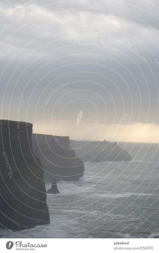 Cliffs of Moher Clouds Bad weather Gale Waves Coast Ocean Atlantic Ocean Blaze Gray Ireland Colour photo Subdued colour Exterior shot Deserted Copy Space top
