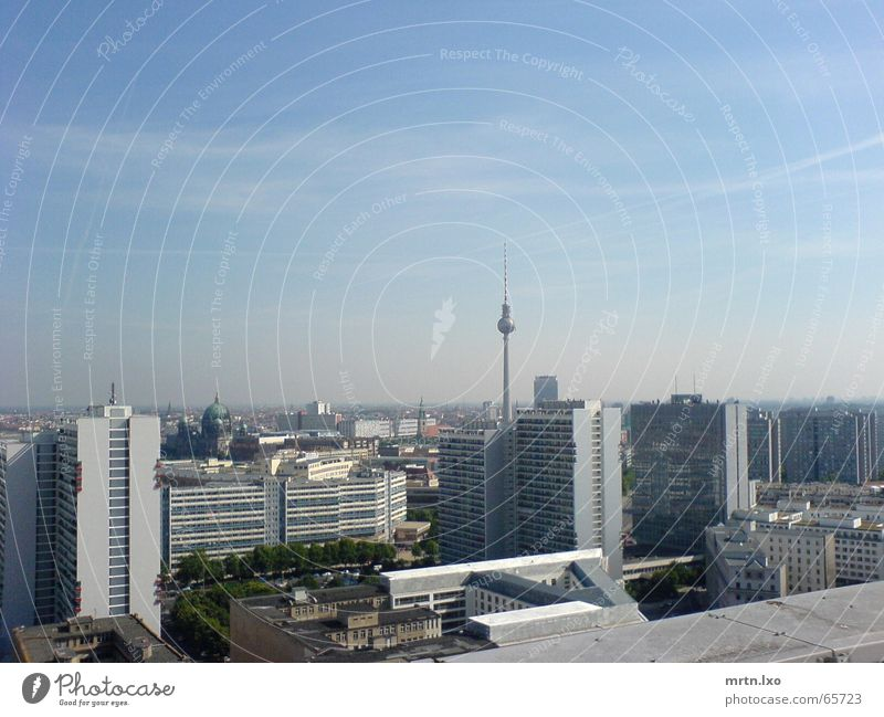 Sky Sun Blue City Summer Berlin Fog High-rise Horizon Clarity Underground Skyline Berlin TV Tower Prefab construction Smog