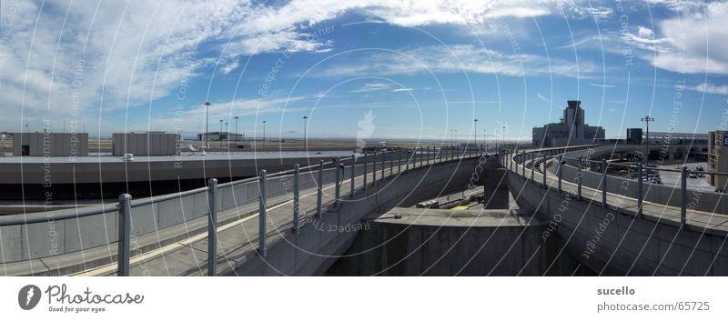 SF int' Airport Overhead track Railroad Railroad tracks Sky Clouds Still Life Blue clowds