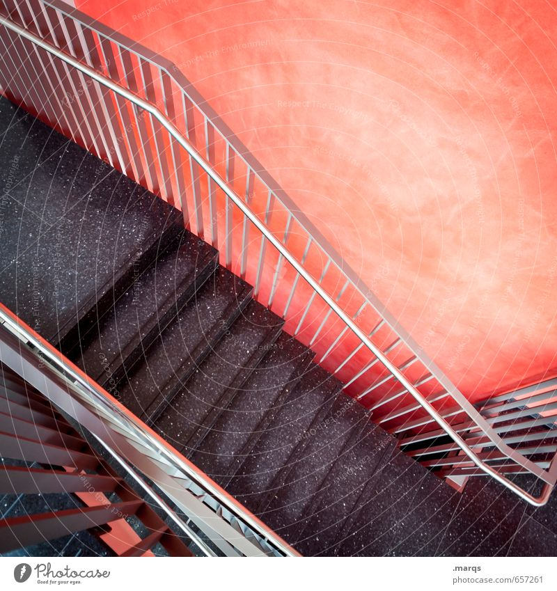 down Style Interior design Wall (barrier) Wall (building) Stairs Staircase (Hallway) Banister Modern Red Black Descent Downward Colour photo Interior shot