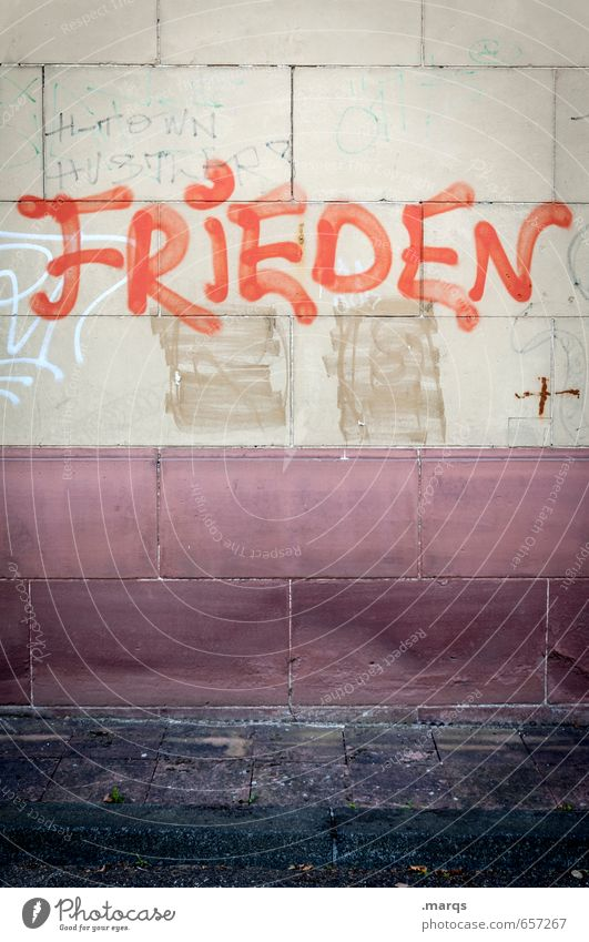 Red Wall (building) Graffiti Wall (barrier) Style Freedom Moody Lifestyle Dirty Contentment Characters Simple Communicate Hope Peace Advice
