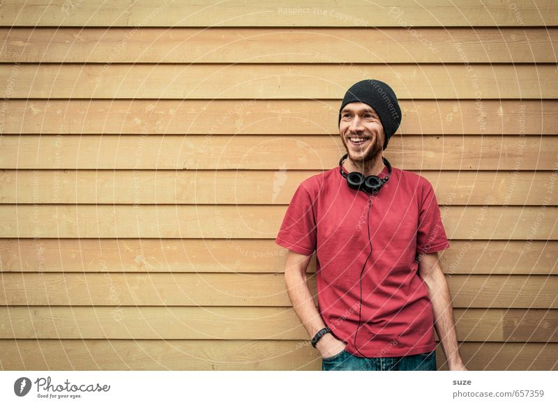 Human being Youth (Young adults) Man Beautiful Red Joy 18 - 30 years Young man Yellow Adults Wall (building) Wall (barrier) Style Laughter Happy Fashion