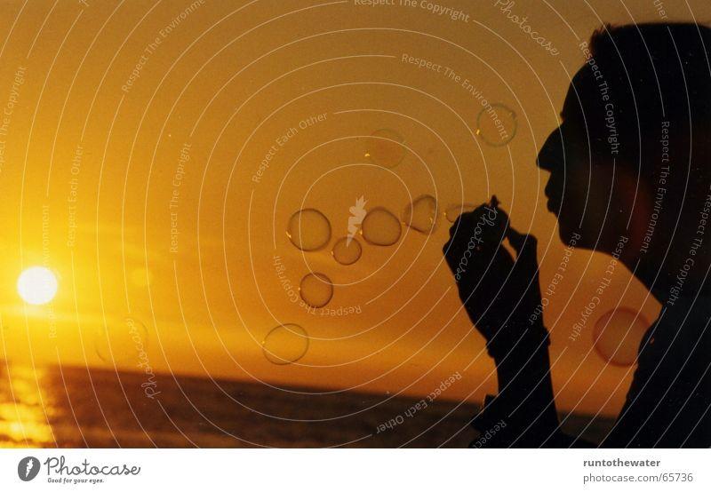 Sun Summer Joy Beach Calm Playing Happy Warmth Moody Kitsch Physics Blow Baltic Sea Soap bubble Dusk