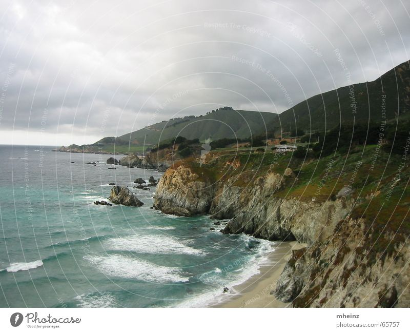 Pacific Coast from US Highway 1 Pacific Ocean Cliff Bad weather Waves Coastal road Beach Clouds