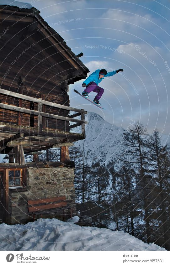 Human being Youth (Young adults) Young man House (Residential Structure) Winter Mountain Snow Sports Lifestyle Exceptional Flying Jump Esthetic Tall