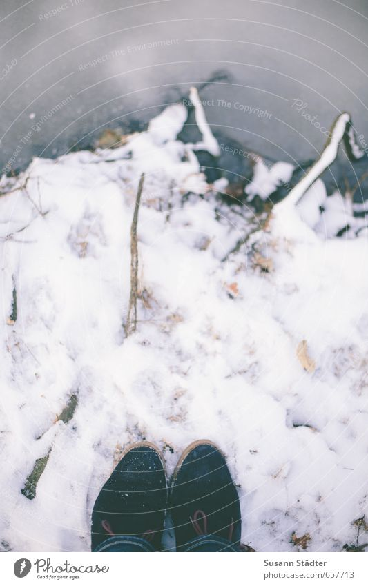 winter juchey Ice Frost Snow Drought Park Coast River bank Pants Footwear Observe Stand Shoelace icily Frozen Winter Multicoloured Exterior shot Detail
