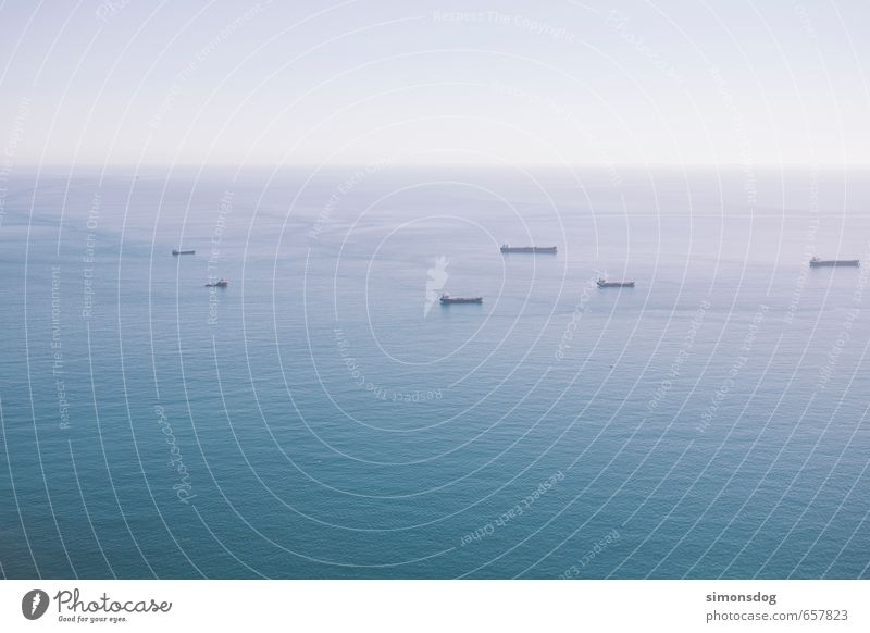 Ocean Far-off places Watercraft Horizon Waves Transport Beautiful weather Logistics Cloudless sky Navigation Traffic infrastructure Mediterranean sea Container