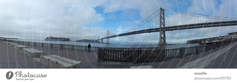 View on Bay Bridge from Embacadero California San Francisco Cargo-ship Panorama (View) Wide angle treasure island Island Container ship Harbour Large