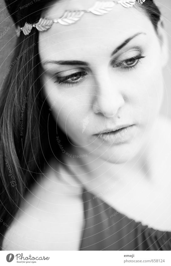 soft Feminine Young woman Youth (Young adults) Face 1 Human being 18 - 30 years Adults Beautiful Black & white photo Exterior shot Close-up Day