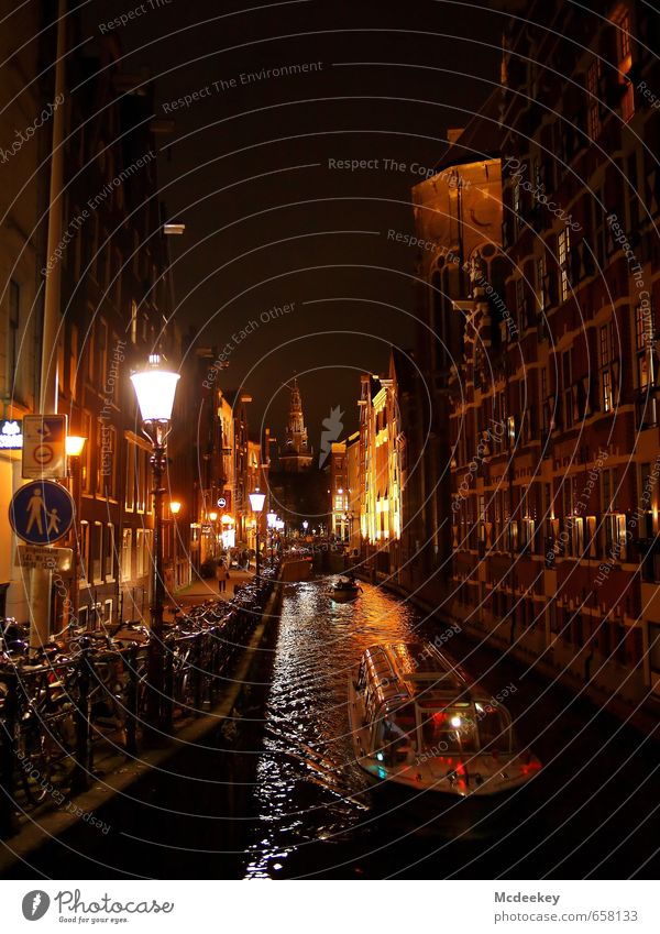 """A """"red"""" start to the evening Amsterdam Netherlands Europe Capital city Downtown Old town Pedestrian precinct Populated House (Residential Structure) Bridge"""