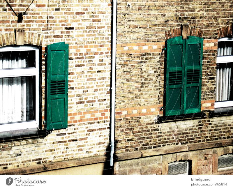 On ... to ... on Window Shutter Brick Wall (barrier) Drape House (Residential Structure) Canceled Processed Roller shutter Old building Wall (building) Pane