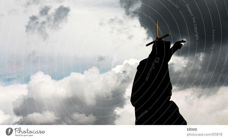 Sky Blue Black Clouds Gray Religion and faith Back Jesus Christ God Indicate Deities Bible Dramatic Prague Charles Bridge