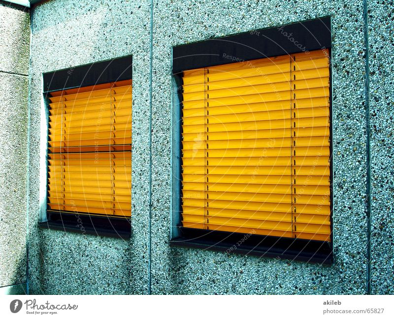 House (Residential Structure) Yellow Window Gray Wall (barrier) Metal Closed Mysterious Bans Timidity Prefab construction Weather protection Venetian blinds