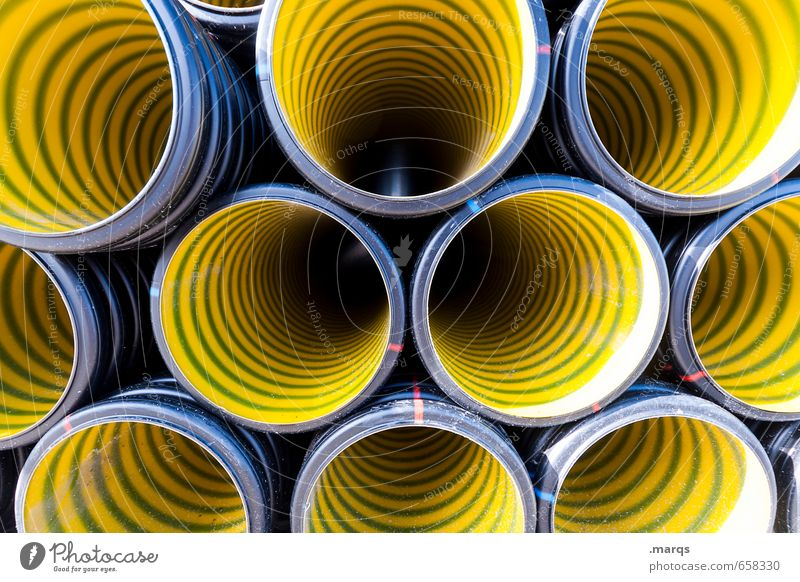 no transparency Industry Construction site Plastic Build Esthetic Round Yellow Colour Arrangement Perspective Symmetry Pipe Drainpipe Colour photo Exterior shot