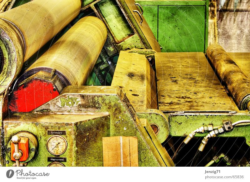 Under pressure. Roll Machinery Factory hall Work and employment Dirty Produce Engineering rolling machine Work of art machine detail Detail Old old machine