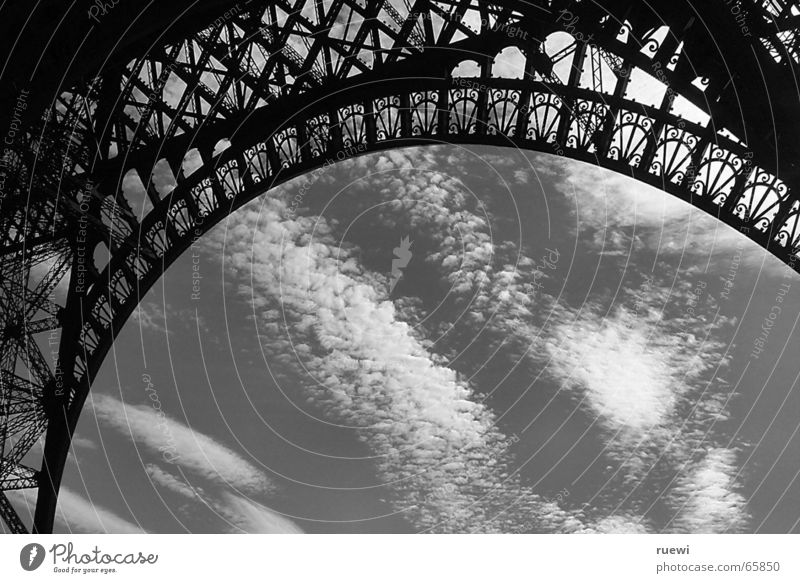 Eiffel Tower SW Vacation & Travel Tourism City trip Sky Clouds Paris France Europe Manmade structures Building Architecture Metal Steel Large Capital city